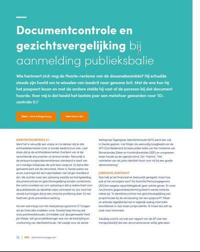Documentcontrole en gezichtsvergelijking bij aanmelding publieksbalie Gemeente Zwolle